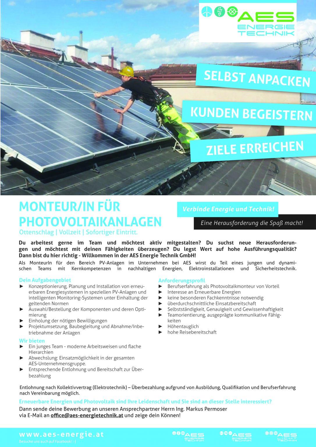 MonteurIn für Photovoltaikanlagen